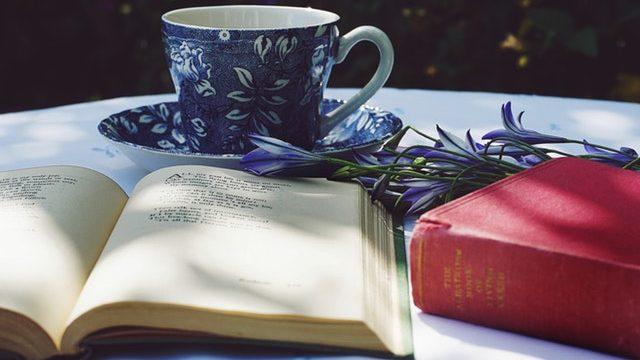 Blaue Tasse Mit Buch Und Blumen